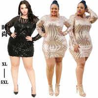 Robe à paillettes grande taille 4xl 5xl femmes Sequin Robe transparente maille manches serrées Sukienka Cekiny Robe champagne Vestido Lentejuelas