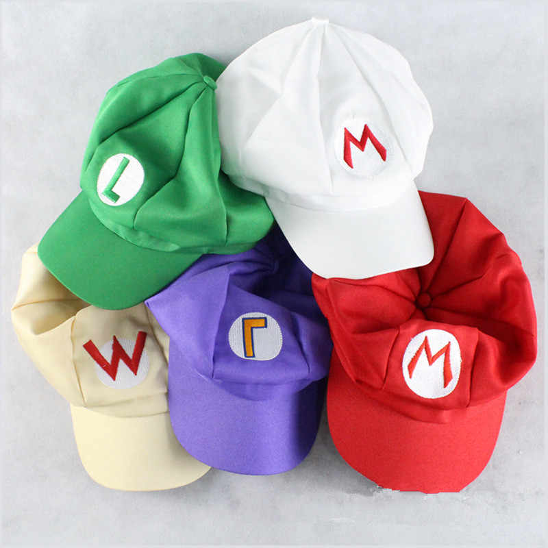 New Anime Super Mario Cosplay Hat Child Adult Mario Bros Cotton Embroidery Caps Demo Baseball Cap Outdoor Travel Hats Adjustable