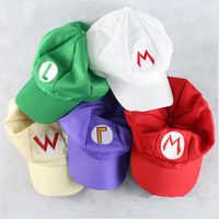 Sombrero de Super Mario Cosplay con bordado de Mario Bros para niños y adultos, gorra de béisbol con bordado de Mario Bros de algodón, ajustable, para viajes al aire libre