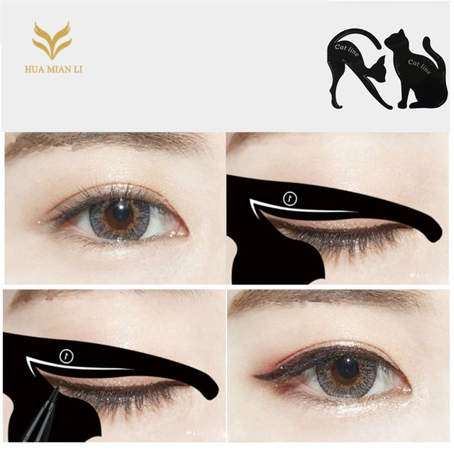 1Set Cat Eyeliner Stencil Models Template Eyebrow Shaper Stamping Tool delineador de ojos plantillas Makeup Accessories 1