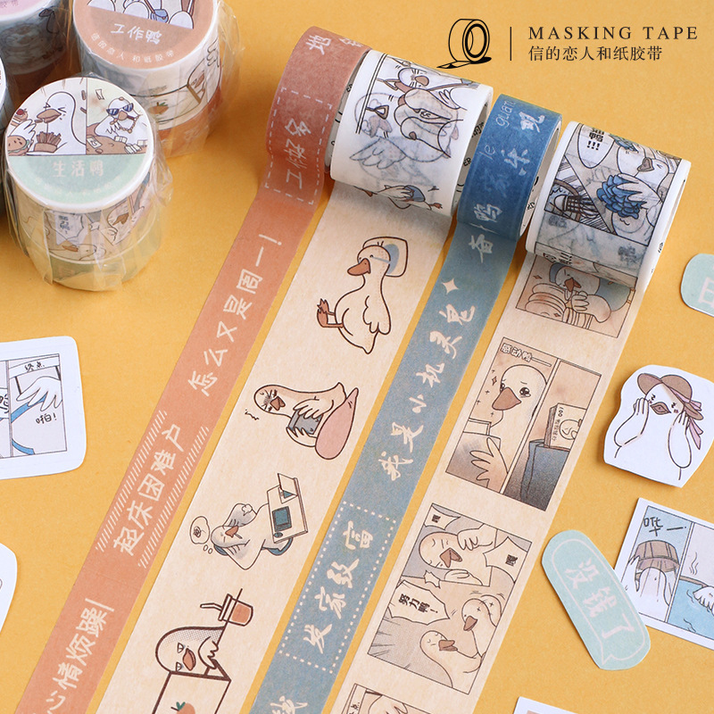 2Pcs/lot Kawaii Washi Tape White Duck Masking Tape Lovely DIY Stickers Scrapbooking Planner Book DIY Material Student Stationery