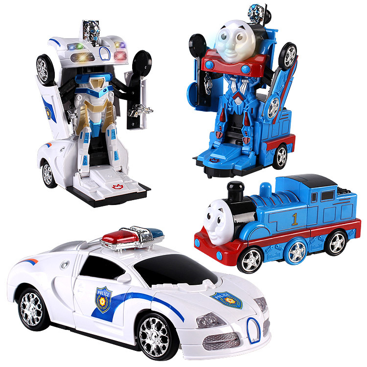 Electric Universal Toy Car Cops Transformer Light And Sound Automatic Transformation 0.35