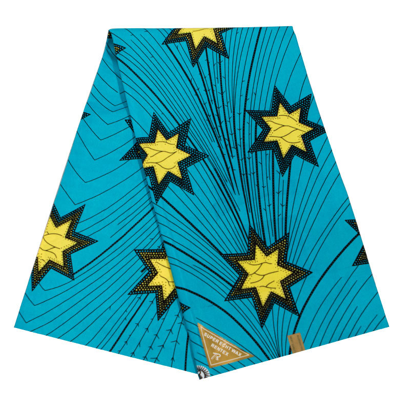 2019 Latest Arrivals New African Dutch Wax High Quality Pagnes Real Dutch Wax Yellow Stars Printed Blue Fabric