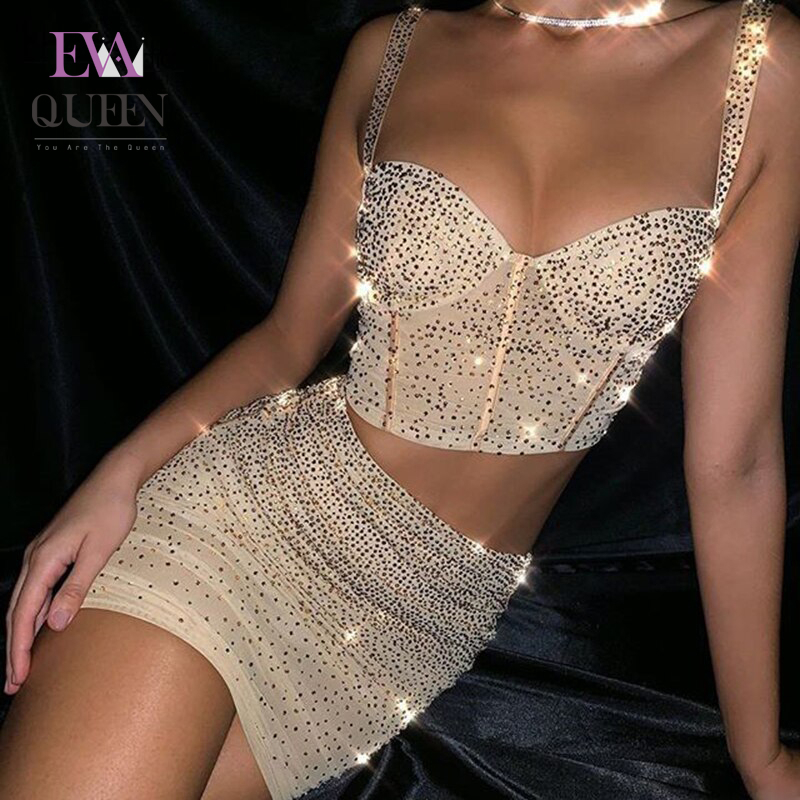 EvaQueen Gold Summer Sexy 2 Piece Set Women Lining Short Tops And Skirt Glitter Women Set Party Mesh Club 2 Pieces Set Outfit