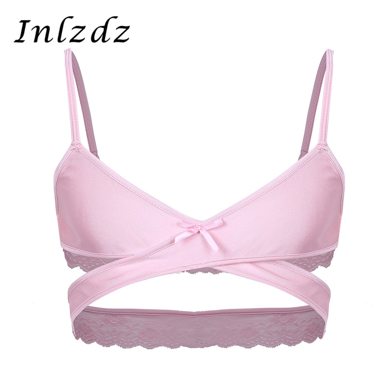 Mens Sissy Crossdresser Bra Open Cup Sex Lingerie Cross Over Back Bra Wire-free No Padded Bra Tops Bralette Exotic Costumes Bra