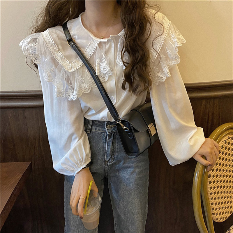 Alien Kitty Office Lady Fairy Peter Pan Collar Basic Blouses Chic All Match 2020 Lace Chiffon Puff Sleeves Casual Female Shirts