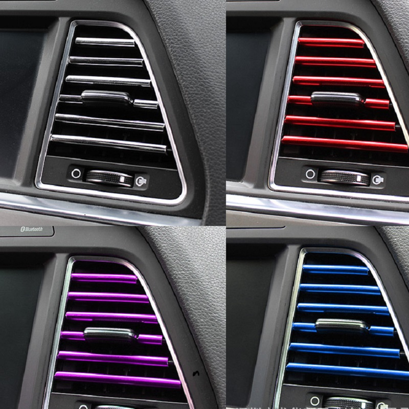 10 Pcs Car Accessories Interior DIY Car Interior Air Conditioner Outlet Vent Grille Chrome Decoracion Strip Silvery Car Styling