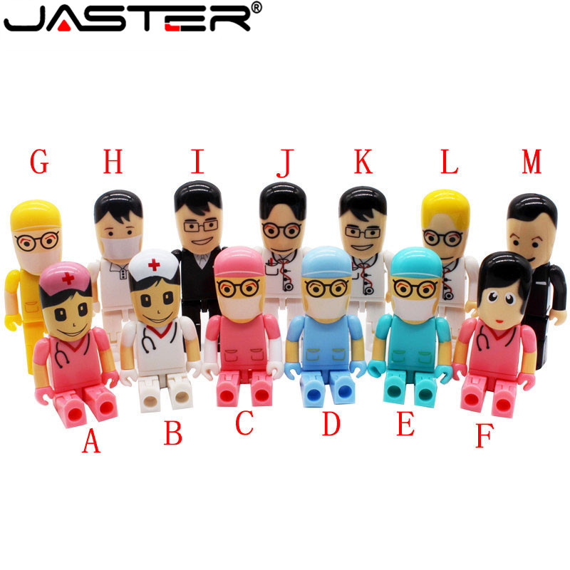 JASTER Doctors Nurse USB Flash Drive Pen Drive Gift Cartoon Doctor Pendrive 4GB 8GB 16GB 32GB 64GB Cute Physician Memory Stick