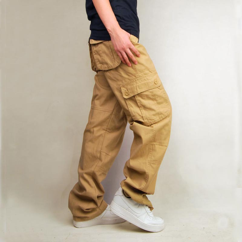 Hot Models Pure Cotton Multi-pockets Loose Style Bib Overall Large Size Pants Ouma MEN'S Trousers