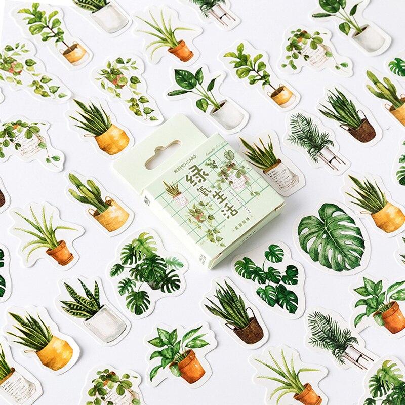 45pcs Green Plant Stickers Set Mini Succulent Plants  Sticker Home DIY Art Decoration Adhesive Post Gift Letter Seal A6584