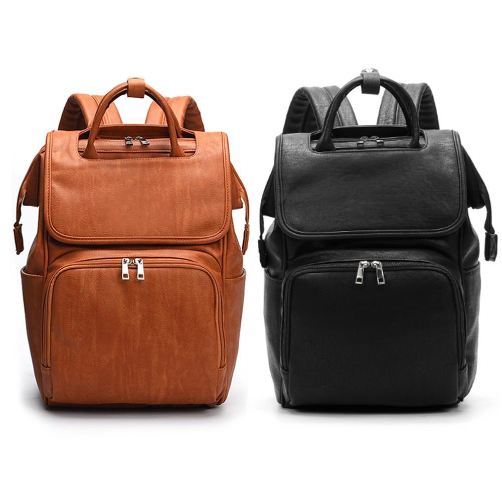 Newest Fashion Mummy Bag Ladies Soft Leather Shoulder Bags Large-Capacity Backpack PU Leather Mummy Bag