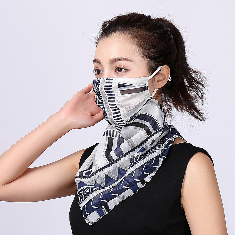 Silk Face Mask Neck Scarf Sun Protection Covers Protector Masks Scarf Shawl Bandana Head Wraps for Women Fashion Headband New