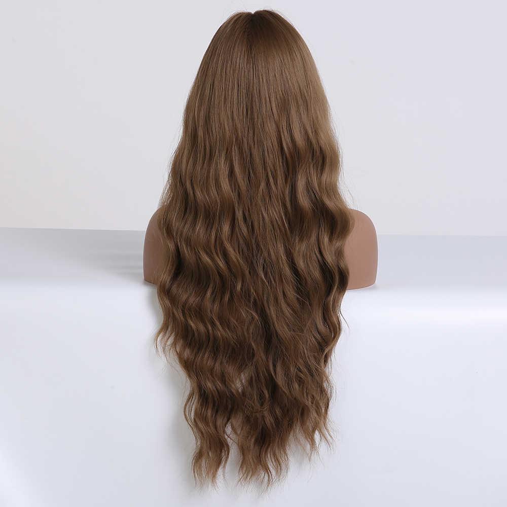 EASIHAIR طويل براون الجسم بيروكات صناعية متموجة مع الانفجارات عالية الكثافة الباروكات للنساء تأثيري الباروكات مقاومة للحرارة شعر مستعار