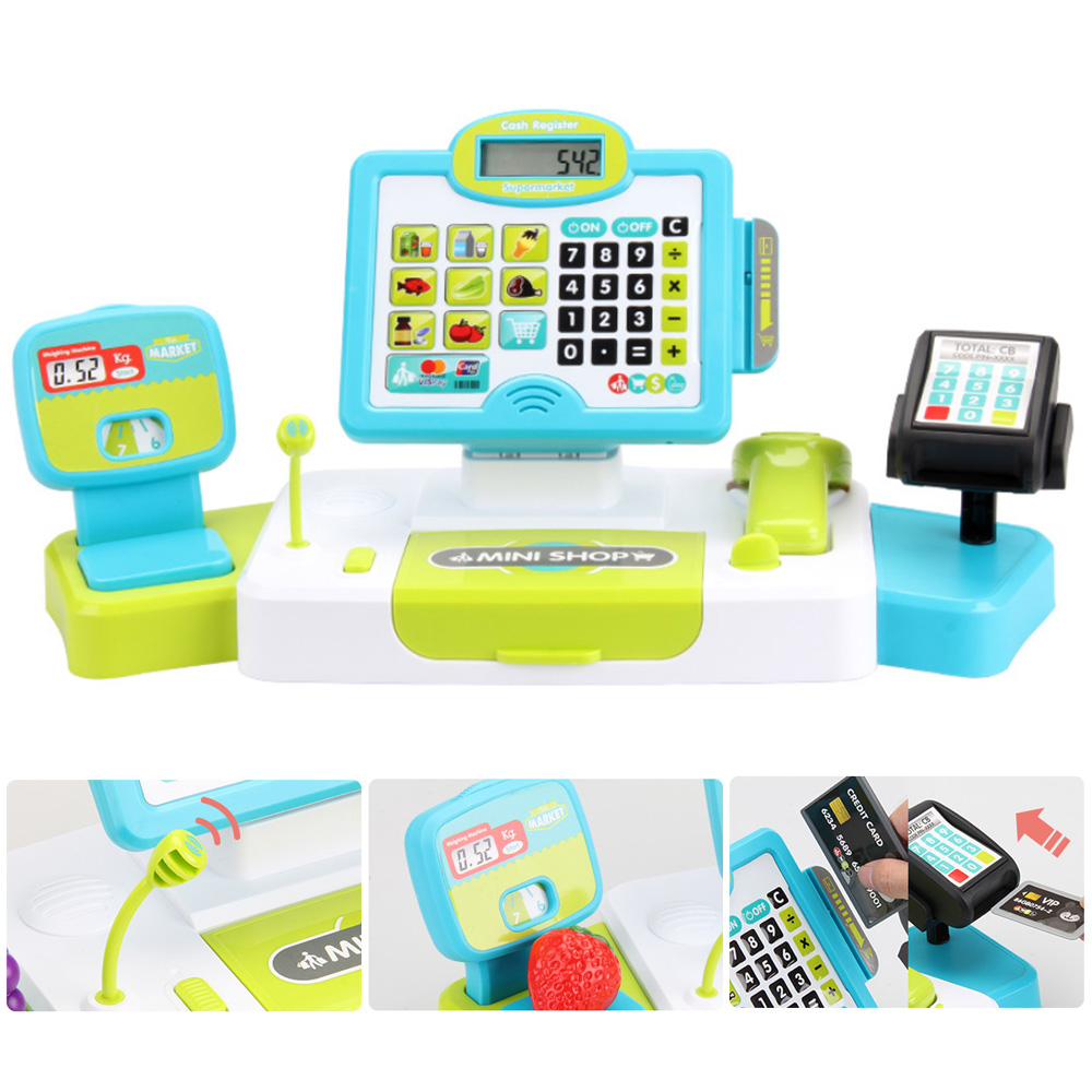 Kids Pretend Play Toys Mini Simulated Supermarket Checkout Counter Role Play Cashier Cash Register Setearly Educational Toys