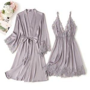 Image 1 - Lace Trim Sexy Wedding Lady Robe Suit Loose Satin Bride Bridesmaid Kimono Bathrobe Gown Mini Sleepwear Rayon Intimate Lingerie