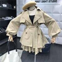 Neploe Temperament Women Set Short Slim Waist Trench Coat+ High Wait Pleated Skirt Aututm Winter Wild Chandal Mujer Solid 46613