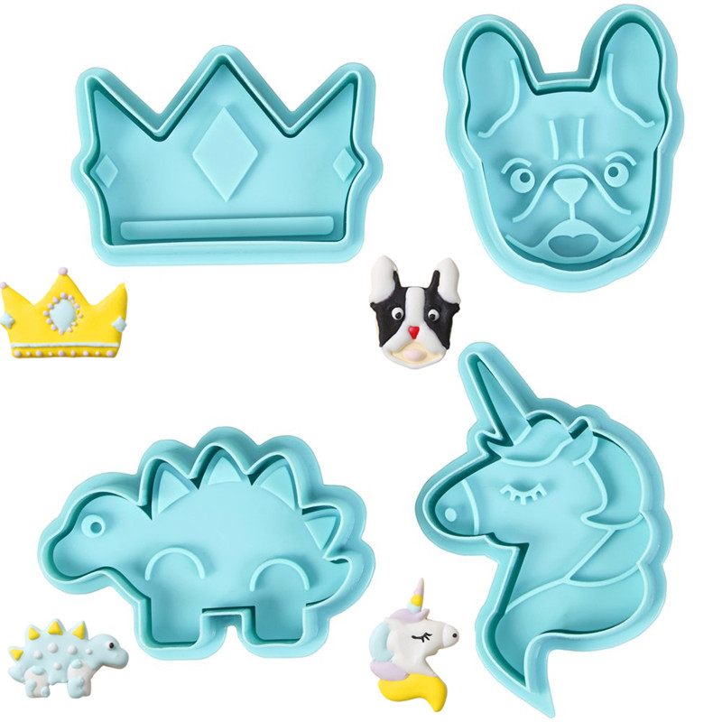 4Pcs/Set Food Grade Plastic Snow Easter Cookie Mold Heart Biscuit Cutter Baking Tools Plunger Stamp Die Fondant Cake Tools