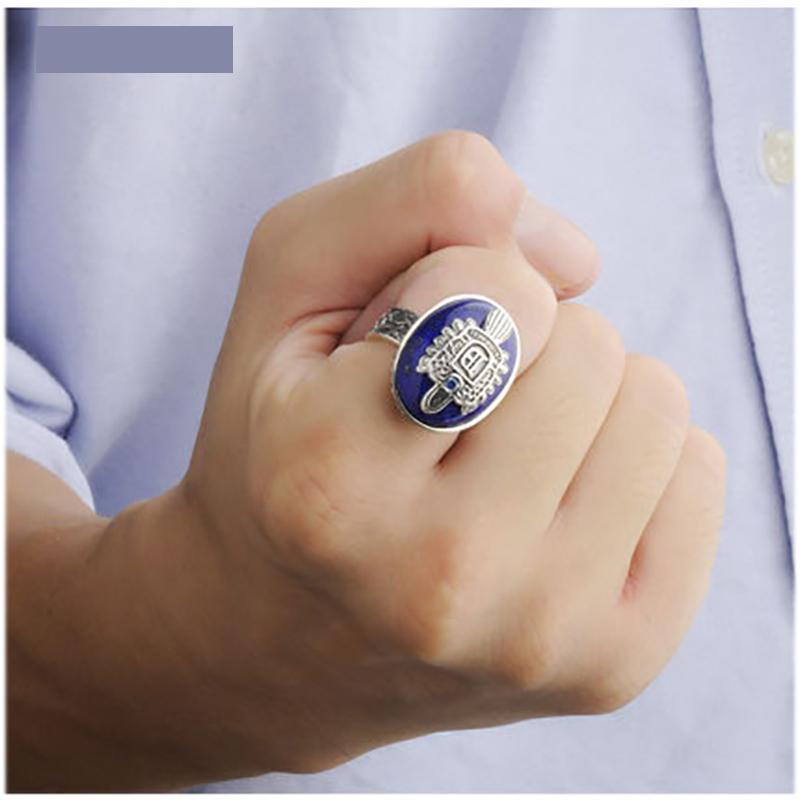 Le Vampire Diaries anneaux réel 925 argent Sterling Damon Salvatore bague hommes avec Lapis Lazuli gemme pierre naturelle bijoux fins - 5
