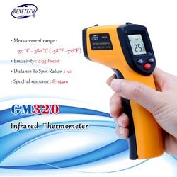 Цифровой GM320 инфракрасный термометр Бесконтактный инфракрасный термометр Температура пирометр ИК лазерная точка Gun-50 ~ 380 градусов
