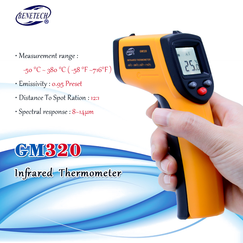 Digital gm320 Infrared Thermometer non contact infrared  thermometer temperature Pyrometer IR Laser Point Gun   50~380  degreepoint gungm320 infraredgm320 infrared thermometer -