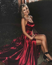 Elegant open-back A-line ball gown with high slits plus size and long vest can be customized in a variety of colors and sizes and be a villain