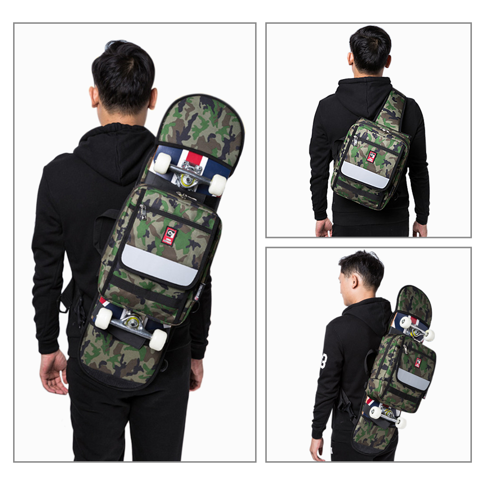 Multi-functional Skateboard Longboard Carry Bag Outdoor Sport Folding Sling Pack Handbag Shoulder Bag Skateboard Carry Bag