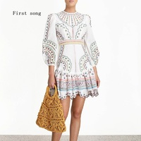 First song Women's Skinny Hollow Embroidered Lace Sexy Dress 2020New Summer Round Neck Long Sleeve Retro Elegant Women's Dress