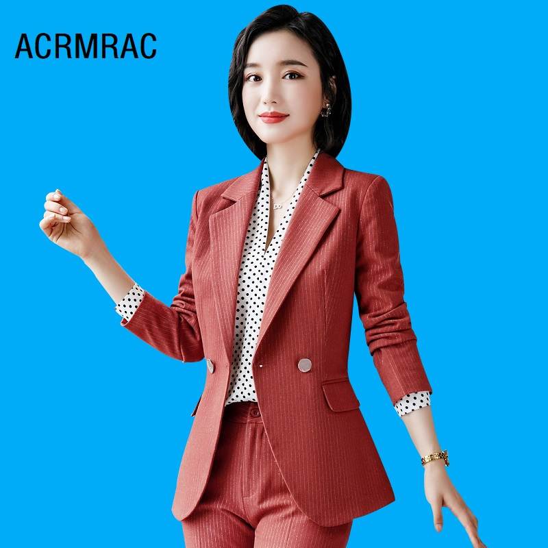 Women Suits Slim Autumn Winter Stripe Jacket Pants 2-piece Set OL Formal Women Pants Suits Woman Set Suits 9906