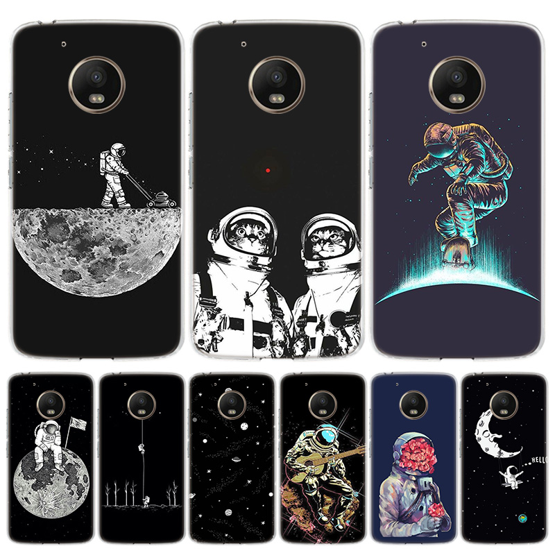 Space Moon Astronaut Cover Phone Case For Motorola Moto G8 G7 G6 G5S G5 E6 E5 E4 Plus G4 Play EU One Action X4 Pattern Coque