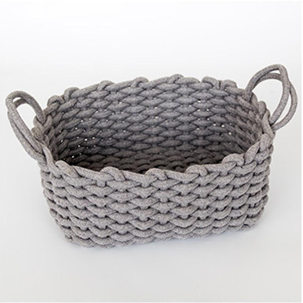 1pc Fashion Handmade Cotton Rope Storage Basket Desktop Sundries Finishing Box Natural Fabric Laundry Toys Organizer Box