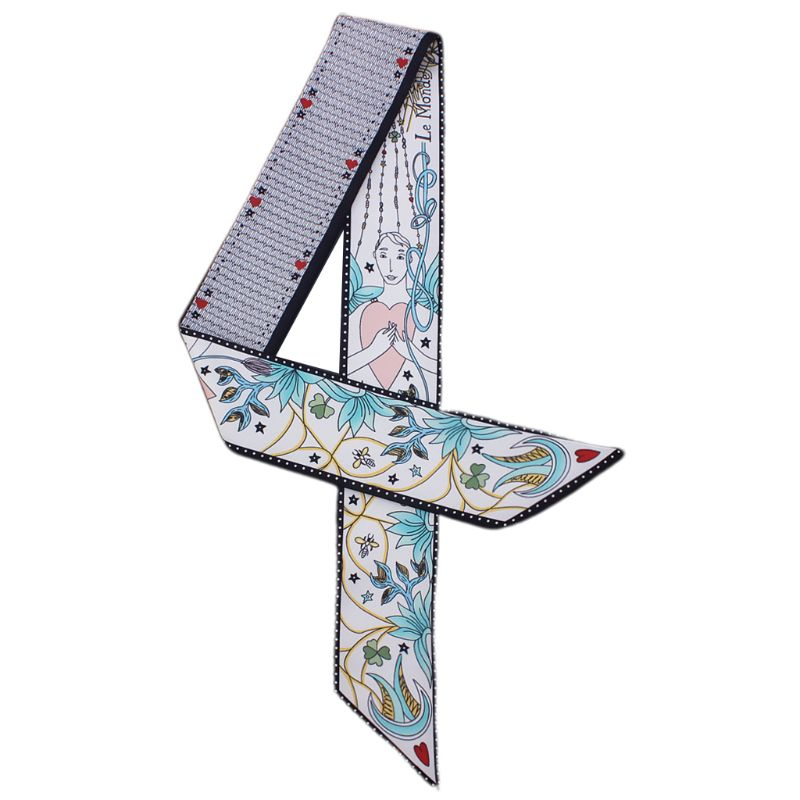 Women Double-Sided Printed Skinny Neckerchief Tarot Abstract Graphic Patterns Satin Twill Handbag Ribbon Tie Headband Neck Scarf