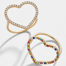 CZ Rainbow Heart Rings for Women Crystal Love Heart Cubic Zirconia Ring Gold Filled Jewelry Gifts Bohemia Gold Finger Ring elegant purple black gold filled cz ring gold colors flowers rings unique vintage party wedding for women christmas jewelry