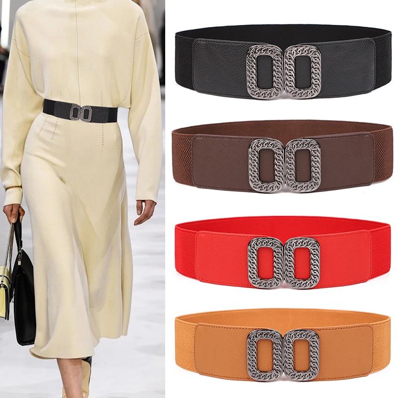 HOT Women's Girdle Elastic Waistbands For Dress Stretch Wide Waist Belts Woman New Black Chain Alloy Buckle Cummerbunds Ladies