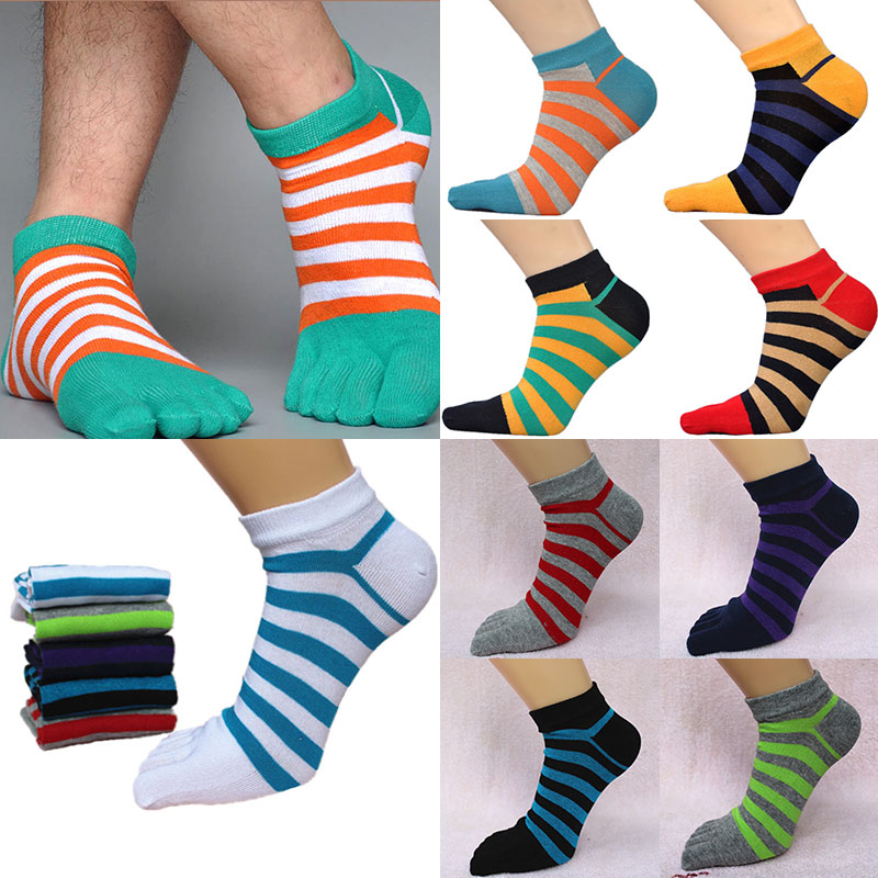 Five Finger Socks Men's Cotton Line Low Short Socks Spring Autumn Casual Boat Socks Colorful Striped Toe Socks Calcetines Hombre
