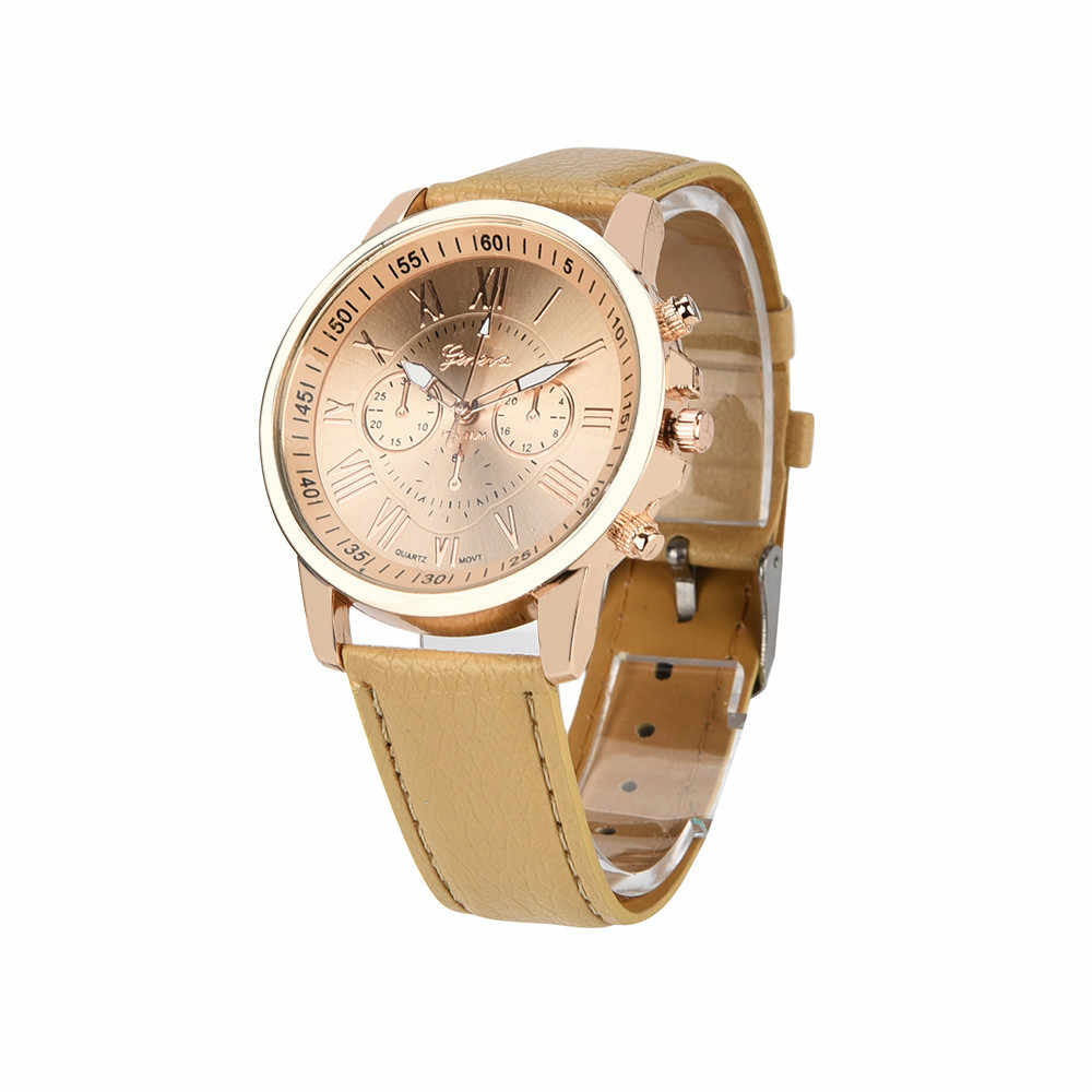 ผู้หญิงเจนีวาโรมันตัวเลข Faux หนัง Analog ควอตซ์นาฬิกานาฬิกาข้อมือสตรีแฟชั่น PU ผู้หญิงนาฬิกาข้อมือควอตซ์ # W3