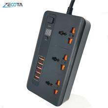 Удлинитель питания с защитой от перенапряжения, универсальные розетки, розетка электрическая с вилкой Стандарта Австралии/США/ЕС/Великобритании и адаптером зарядного устройства USB 3,4 А, Удлинительный шнур 2 м