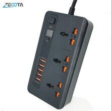 """כוח רצועת מגן שקעים אוניברסליים AU/ארה""""ב/האיחוד האירופי/בריטניה תקע חשמלי Socket עם USB 3.4A מטען מתאם 2m הארכת כבל"""
