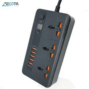 Image 1 - Güç şeridi dalgalanma koruyucusu evrensel çıkışları AU/abd/ab/İngiltere tak elektrik soketi ile USB 3.4A şarj adaptörü 2m uzatma kablosu
