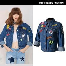 Women Denim short Jacket with Badges Long Sleeve Vintage Jean jacket Autumn Coat Jeans casual Chic style