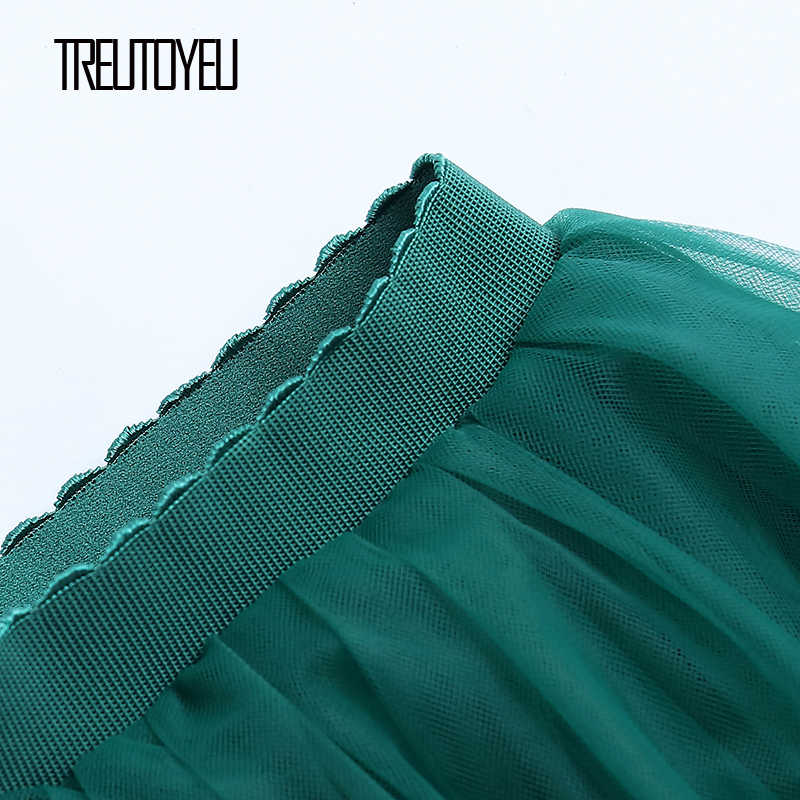 Treutoyeu עיצוב גבירותיי חצאיות נשים קוריאני סגנון 6 שכבות 65cm עשן אפור Midi קפלים טוטו טול חצאית Faldas Mujer moda 2020