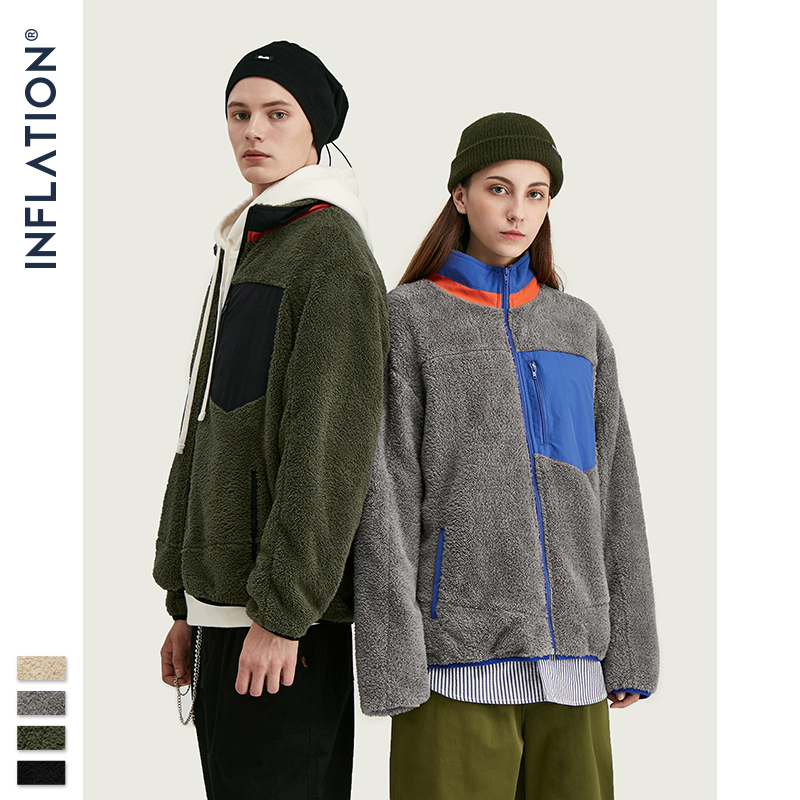 INFLATION Men Berber Fleece Winter Jacket Coat 2020 High Street Loose Fit Poler Fleece Men Coat High Collar Men Jacket 9744W