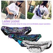 Fashion Neutral Laser Sequins Glitter Waist Bag Outdoor Fanny Pack Pouch Hip Purse Satchel Women Messenger Packs
