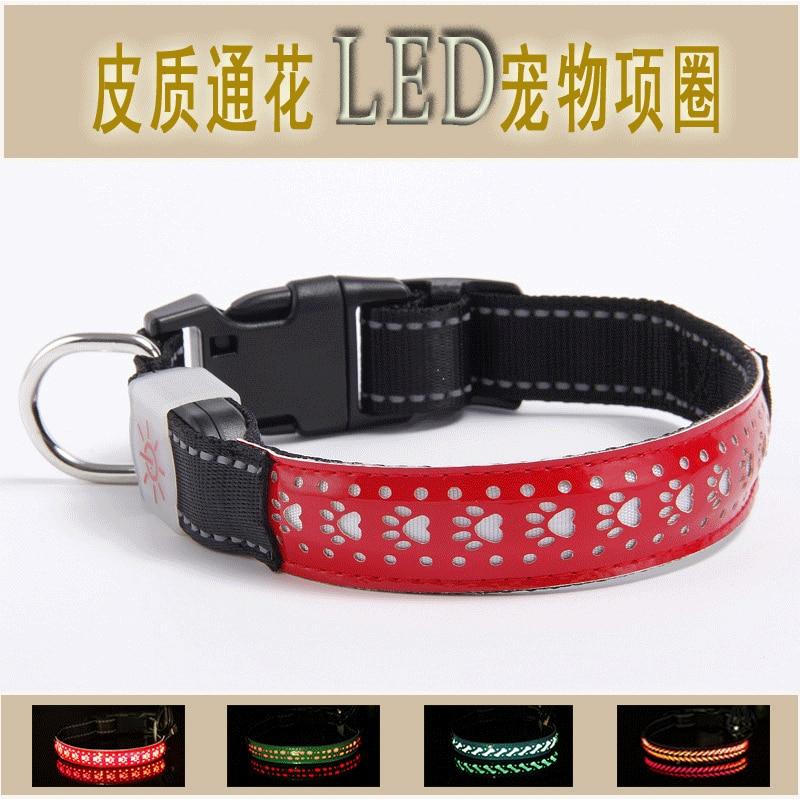Leather Eyelet Neck Ring LED Leather Dog Collar Anti-Car Accident Dog LED Translucent Neck Ring Pet Supplies