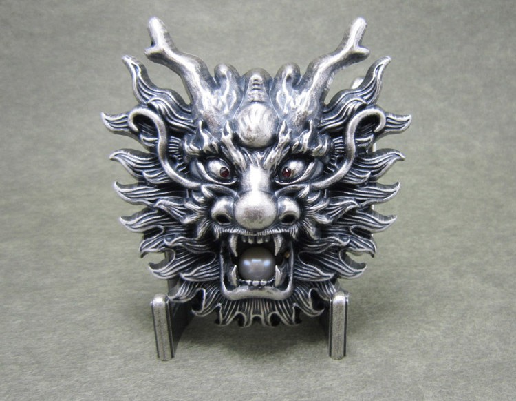Silver-plated Belt Buckle, China Dragon Totem Oriental Dragon Belt Finished Buckle, Suitable For Belt Width Less Than 4 Cm