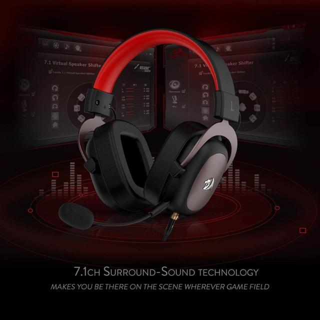 Redragon h510 zeus wired jogo fone de ouvido 7.1 surround som memória espuma almofada da orelha com microfone removível para pc/ps4 e xbox um 5