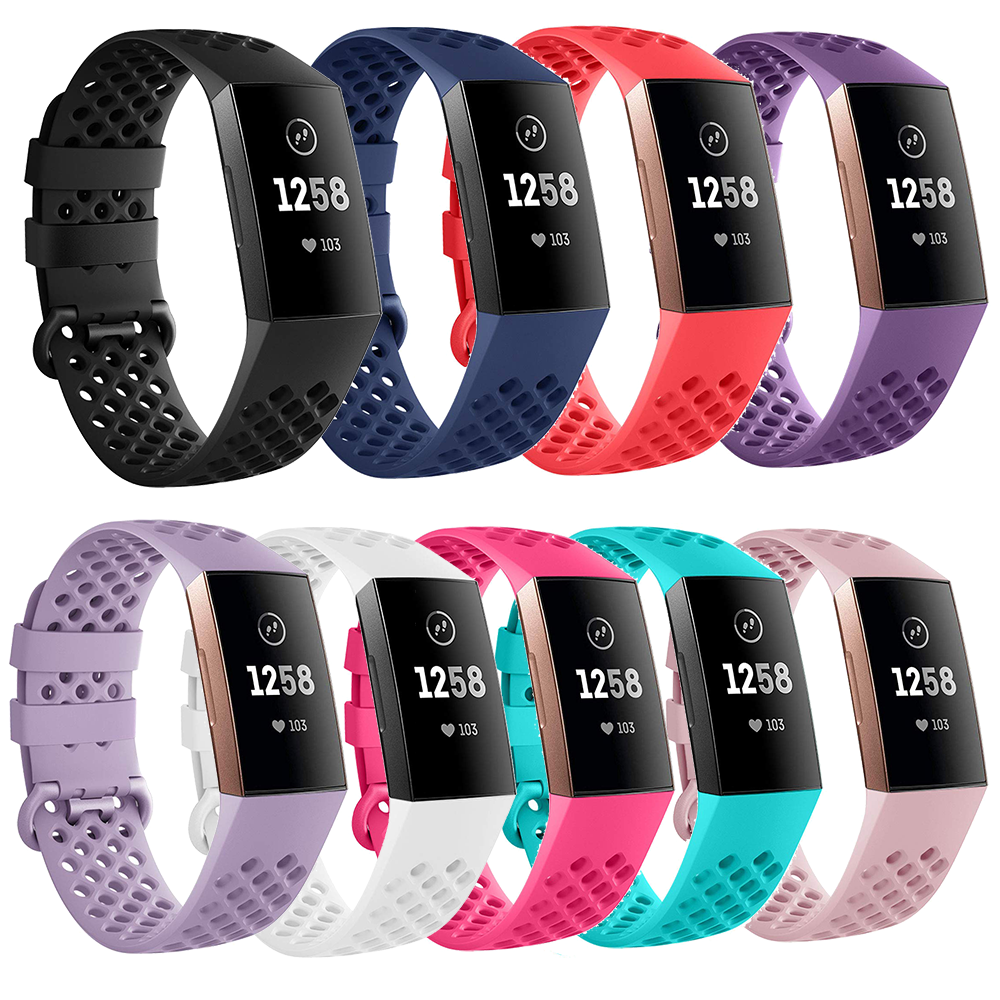 Silicone Wristband For Fitbit Charge 3 Air Holes Breathable Band Sport Bracelet For Fitbit Charge 3 Correa Small  Large