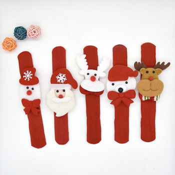 10PCS New Year Party Childrens Novelty Toys Santa Wrist Clap Circle Snowman Elk Patted Christmas Gifts