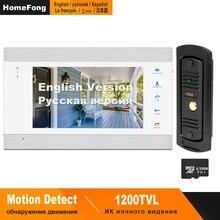 HomeFong Video Deurtelefoon Wired Video Intercom voor Prive Huis 1200 TVL Deurbel Camera Ondersteuning Elektronisch Slot Bewegingsdetectie