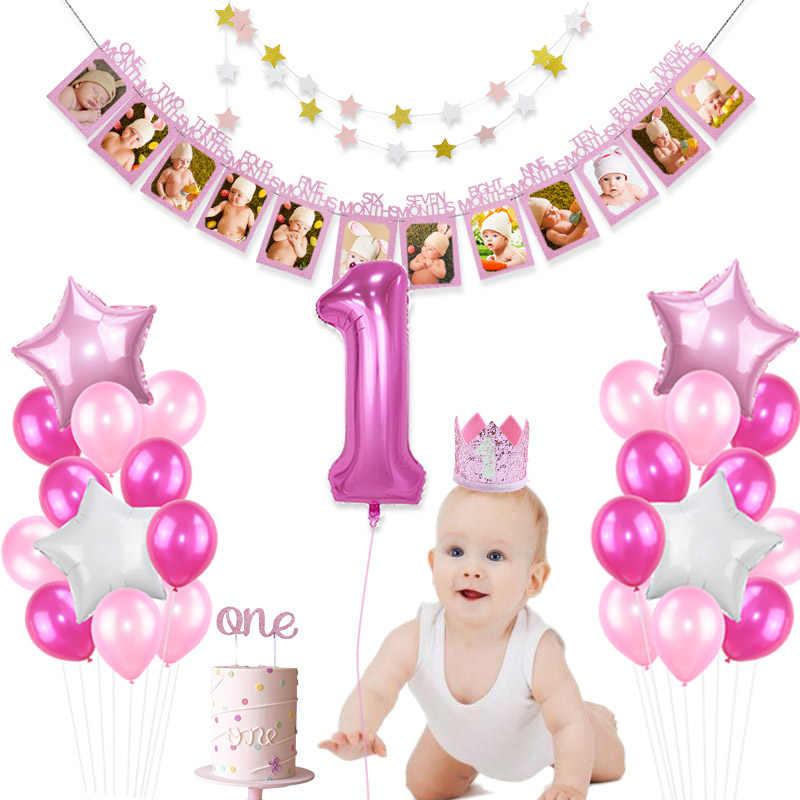 1st doğum günü oğlan kız süslemeleri balonlar fotoğraf çerçevesi afiş bir yaşında çocuklar ilk doğum günü partisi çocuk bebek duş süslemeleri