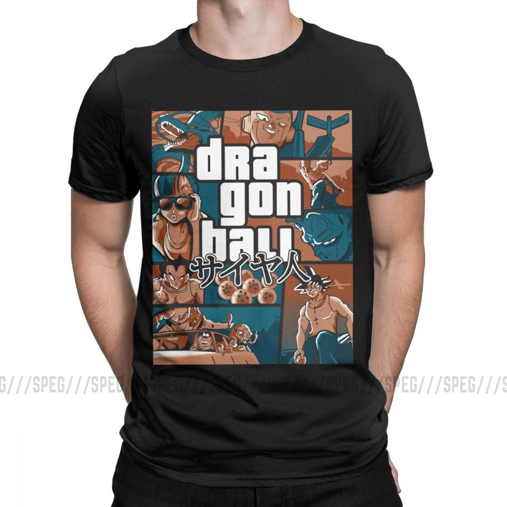 Grand Theft Dragon Ball Z GTA T Shirt Super Saiyan Men 100% Cotton Clothing Short Sleeve Tees Cool Street T-Shirt Plus Size 4XL